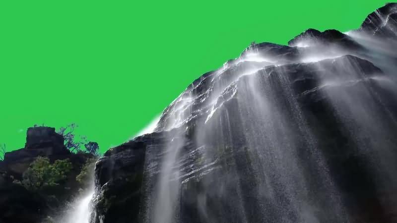 绿幕视频素材高山瀑布
