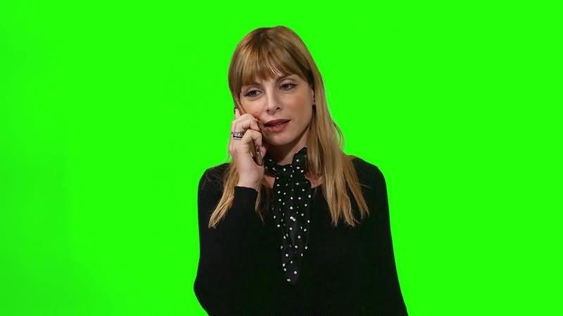 绿幕视频素材美女打电话