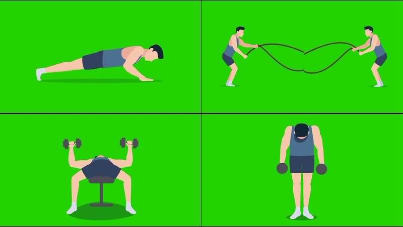 绿幕视频素材男士健身