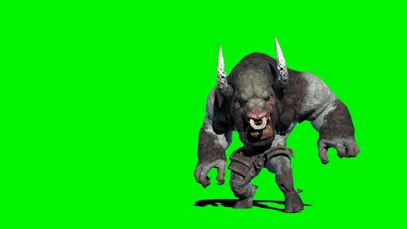 绿幕视频素材牛头怪