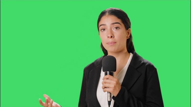 绿幕视频素材女记者