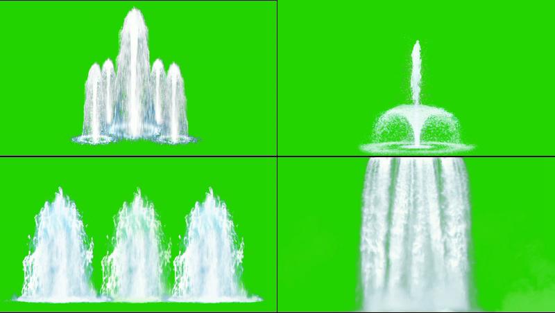 绿幕视频素材喷泉瀑布