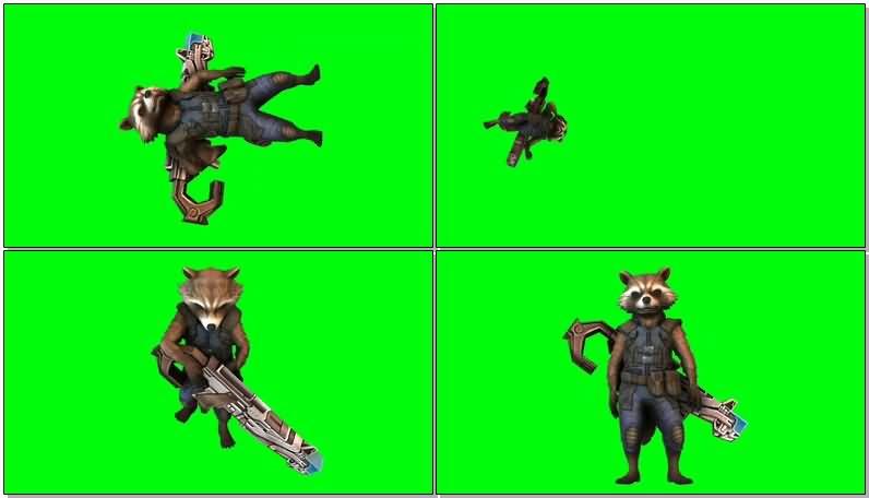 绿屏抠像银河护卫队人物狸猫视频素材