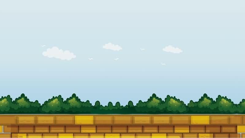 卡通蓝天白云树林围墙片头背景