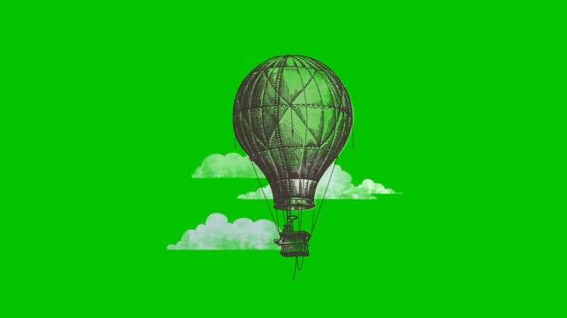 绿屏抠像手绘卡通热气球视频素材