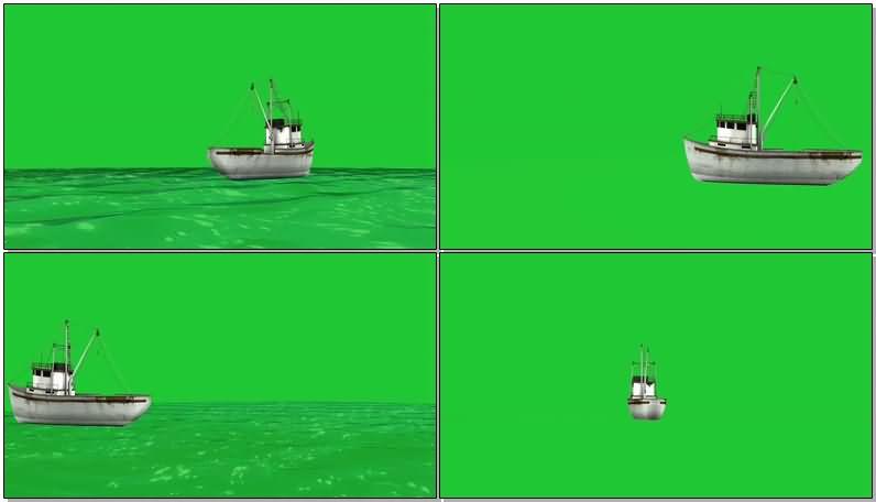 绿屏抠像航行的货船视频素材