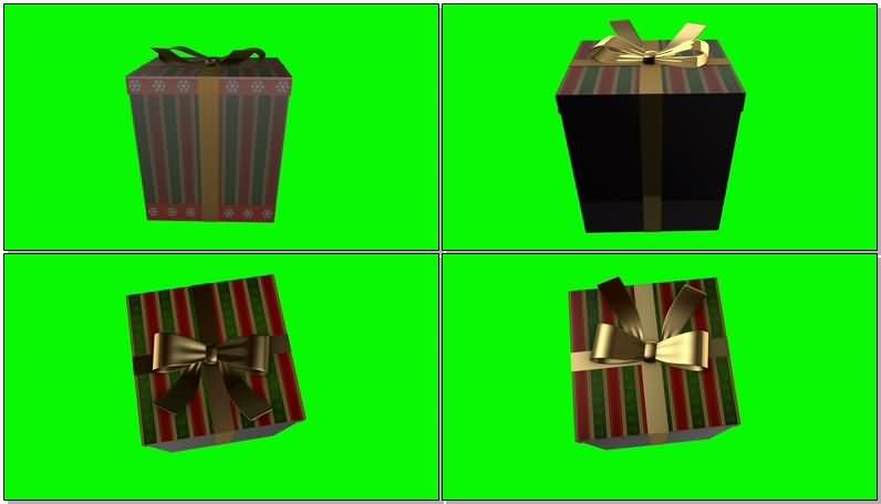 [4K]绿屏抠像彩色礼物盒视频素材