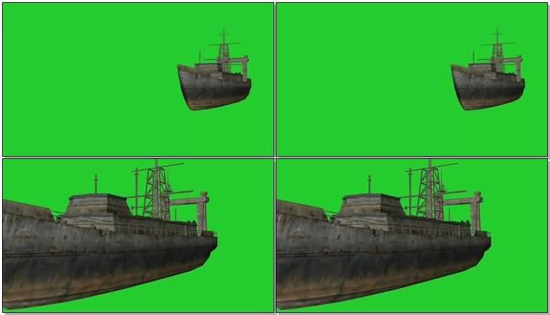 绿屏抠像行驶的货轮视频素材