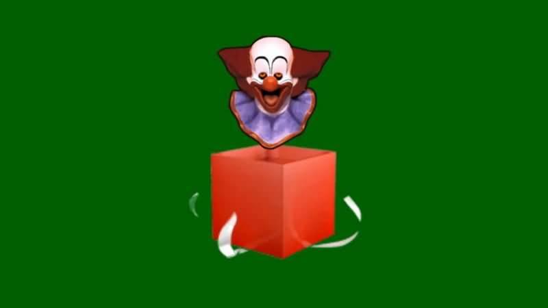 绿屏抠你小丑吓人礼物盒视频素材