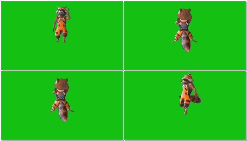 绿屏抠像火箭浣熊视频素材
