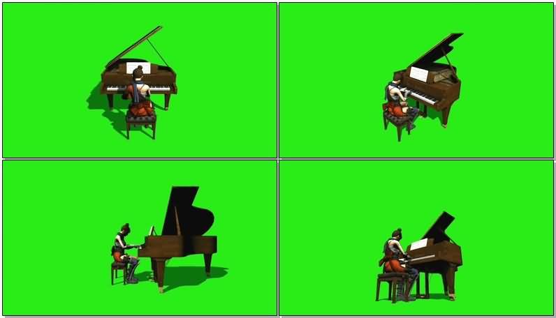绿屏抠像弹钢琴的女武士视频素材