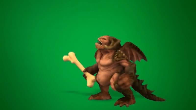绿屏抠像拿着大骨头的怪物视频素材