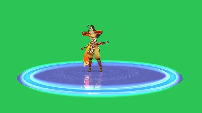 绿屏抠像跳舞的女武士视频素材