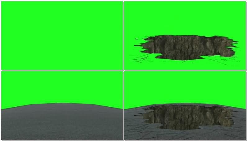 绿屏抠像塌陷的地面视频素材