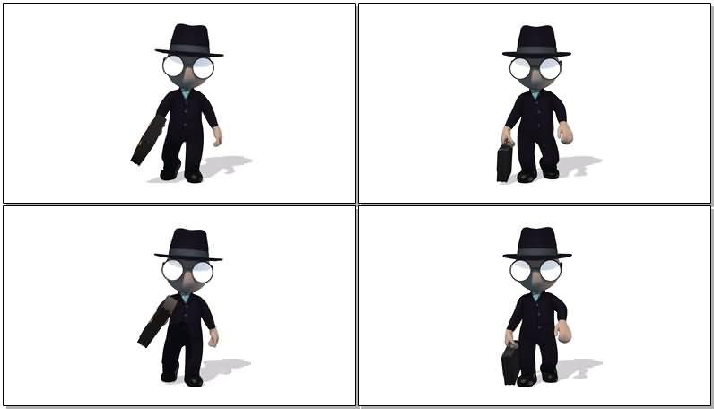 卡通3D西装小人视频素材