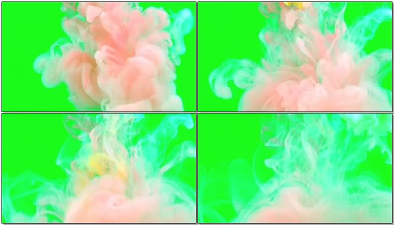 绿屏抠像彩色水墨视频素材