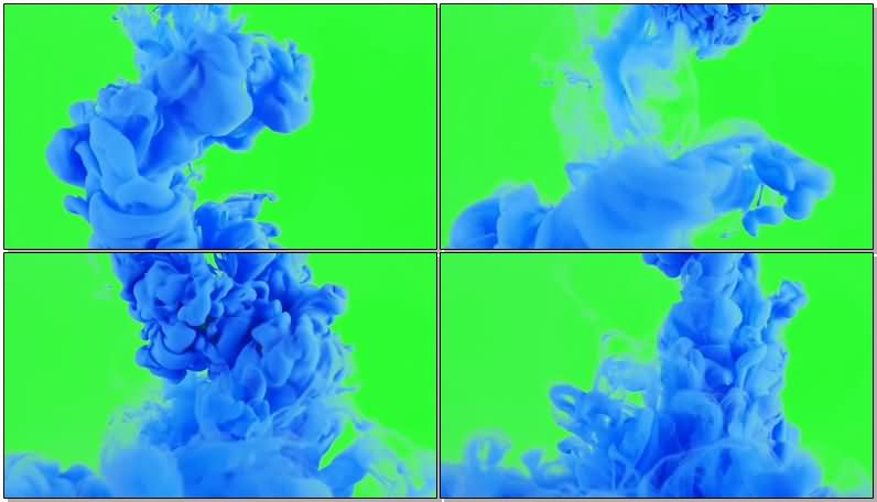 绿屏抠像蓝色水墨视频素材