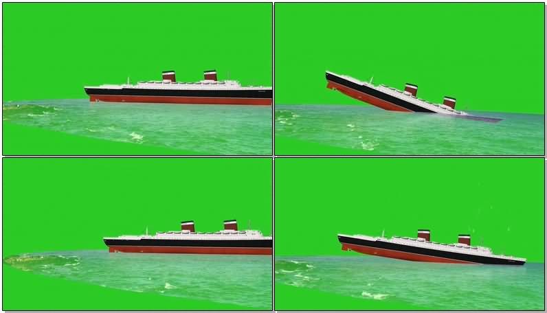 绿屏抠像沉没的游轮视频素材