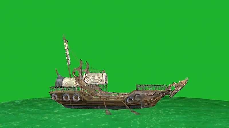 绿屏幕抠像古代海船视频素材