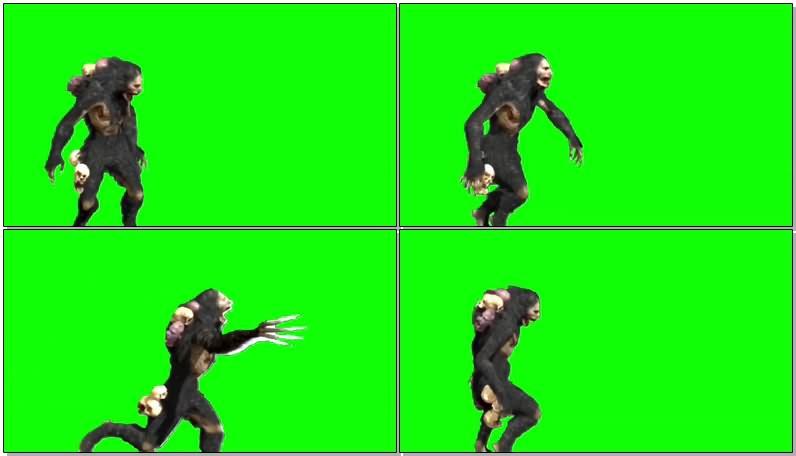绿幕视频素材洞穴怪兽