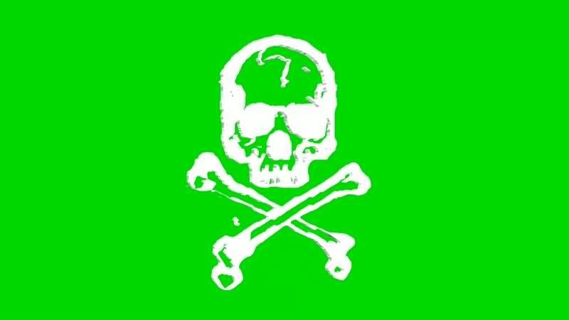 绿幕视频素材立体骷髅标志