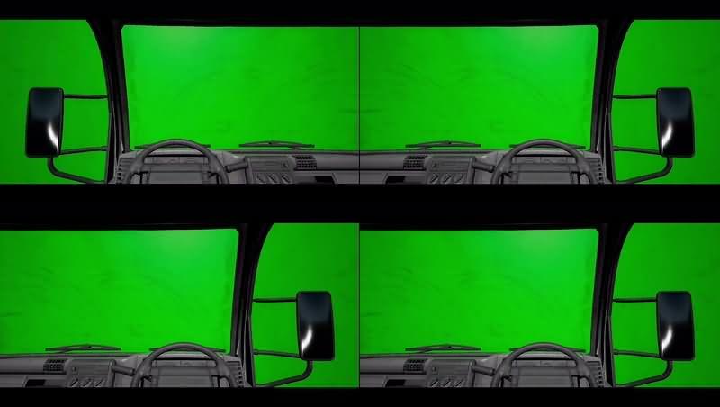 绿幕视频素材卡车内部