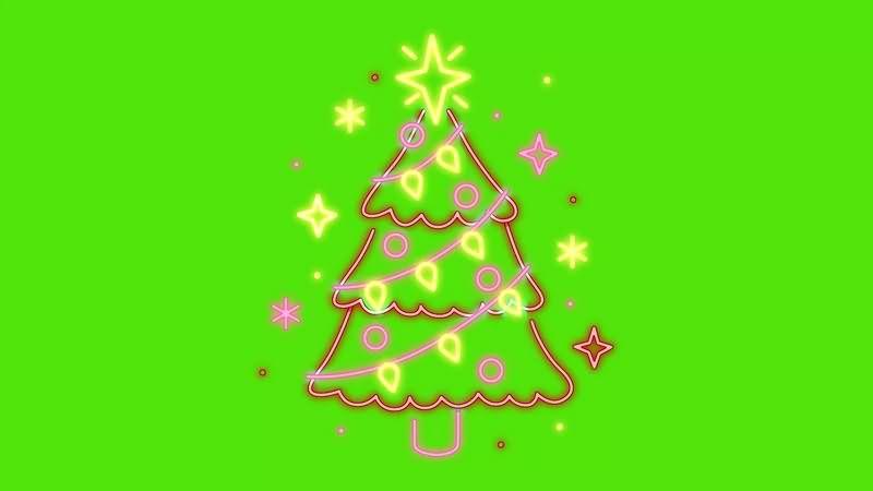 绿幕视频素材圣诞树彩灯