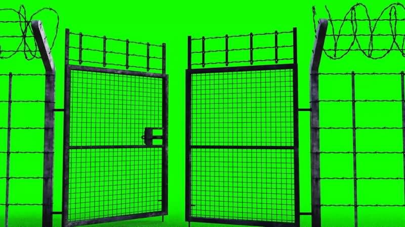 绿幕视频素材铁丝网大门