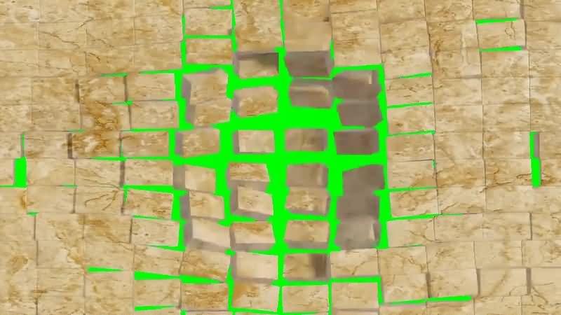 绿幕视频素材墙块破碎