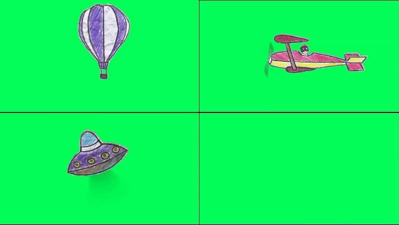 绿幕视频素材剪纸飞行器