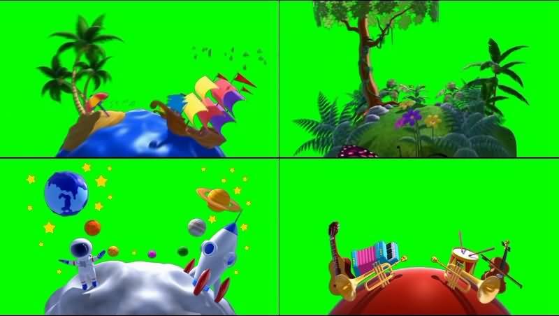绿幕视频素材卡通星球
