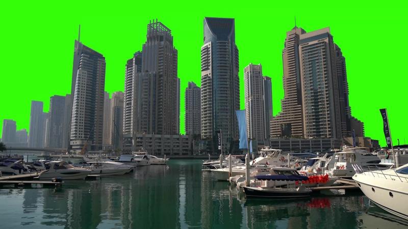 绿幕视频素材迪拜港口