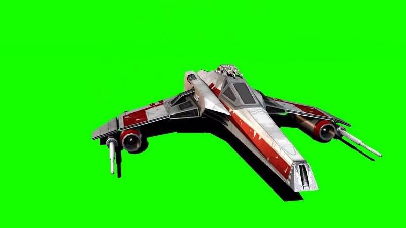 绿幕视频素材E翼星际战斗机