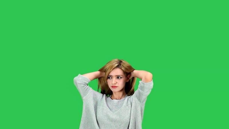 绿幕视频素材金发美女