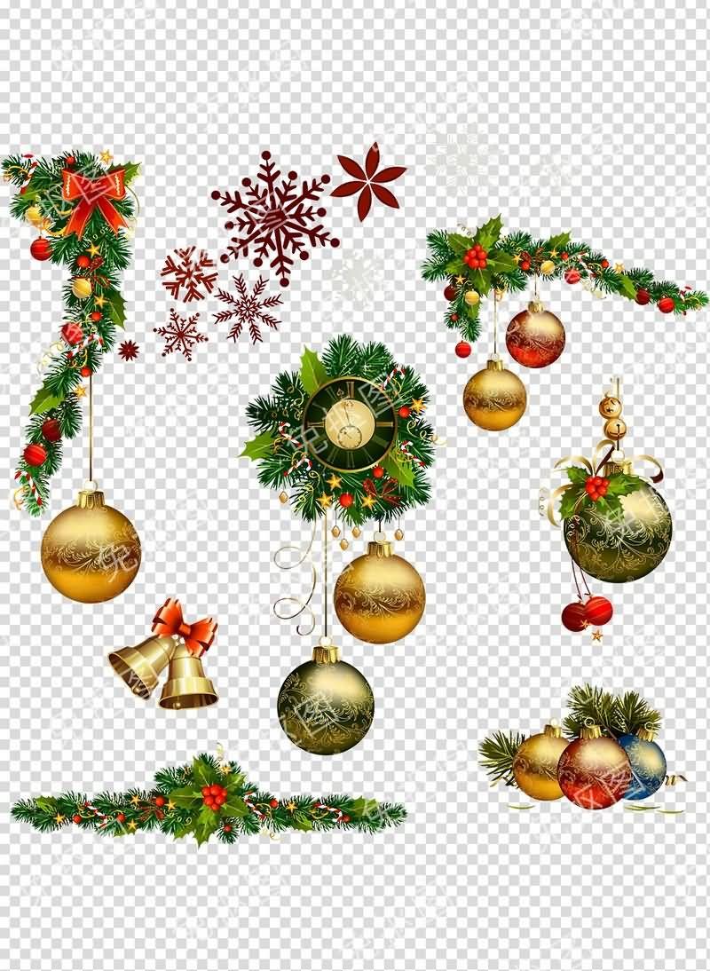 圣诞挂饰免抠分层PSD素材